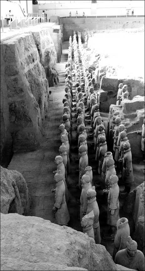 line of soldiers in pit