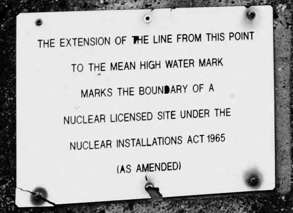 close up of nuclear power plant sign